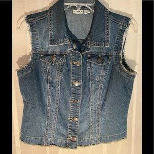 Cato distressed blue jean vest